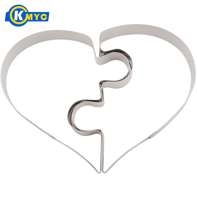 KMYC Heart Puzzle DIY Cookie Mould Baking Tools Stainless Steel Biscuit Molds Fruit Egg Bread Cutter Cake Mold Wedding Gift