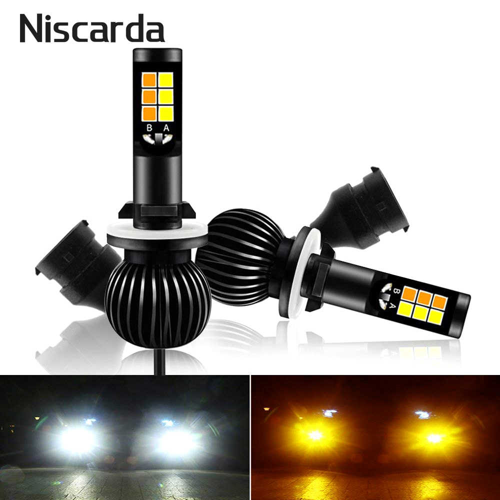 Niscarda 2X H1 H4 H7 H8 H11 9006 6000K White 3000K Amber Yellow Fog Lights Bulbs Dual Color Auto Headlight Bulb Super Bright