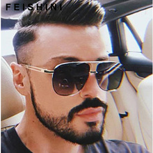 FEISHINI Celebrity Sunglasses Men Brand Design Retro Metal Frame Gradient Colorful Lens Fashion Male Sun glasses Shield Original