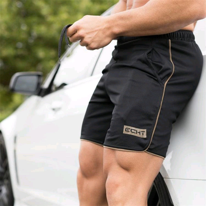 Men Summer Slim Shorts  Fitness Bodybuilding Running Male Short Pant Knee Length Breathable Mesh Sportswear Big Size M-5XL