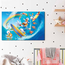 Cartoon Duck Summer Surf Beach Sea Fish Canvas Posters Print Wall Art Painting Oil Decorative Picture Bedroom Home Decor