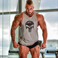 2016 Newest Brand Skull Print Musculation Bodybuilding Fitness Men Cotton T Shirt Vest Men Tank Tops