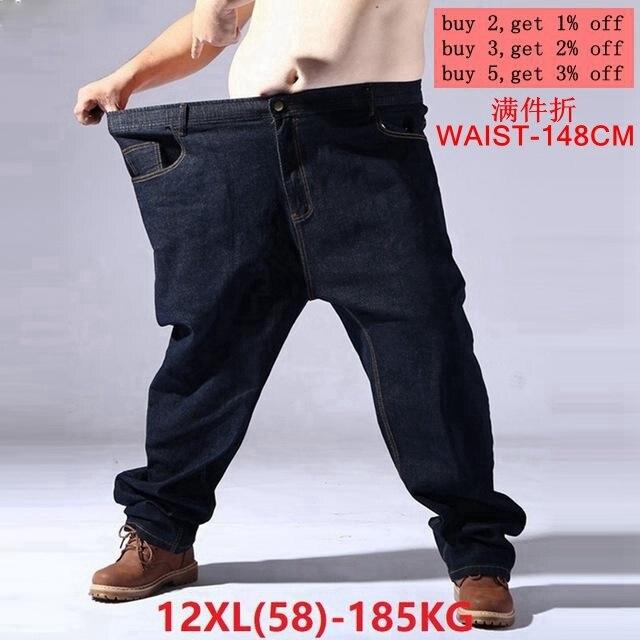 גדול גודל גדול גודל גברים של ג ינס 9XL 10XL 11XL 12XL מכנסיים סתיו מכנסיים למתוח ישר 50 54 56 58 ג ינס למתוח שחור גדול s