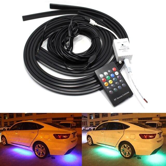 4 stks Auto Glow Underbody System Neon Lights Kit 2*90 2*120 cm w ...