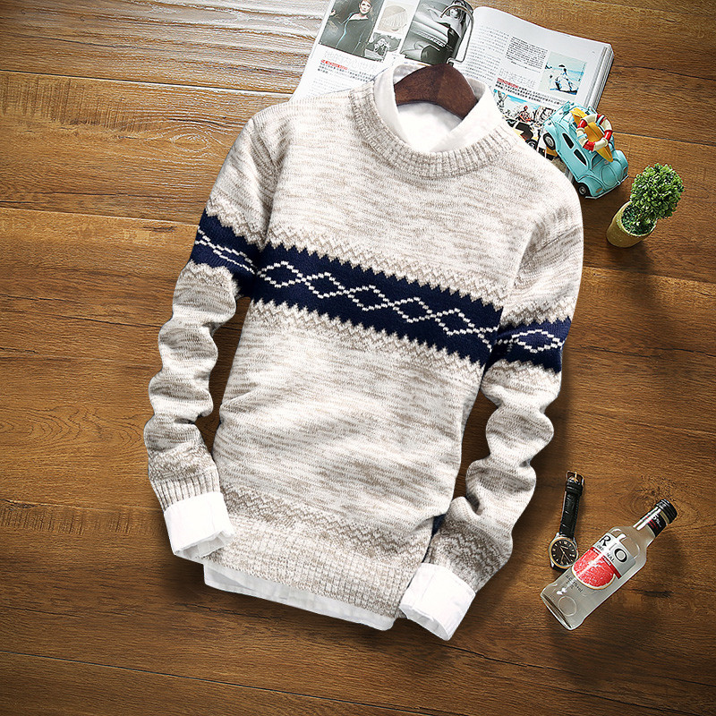 Winter Pullover Sweater Brand Knitting Long Sleeve O-neck Slim Korean Fashion Clothes Men Sweater