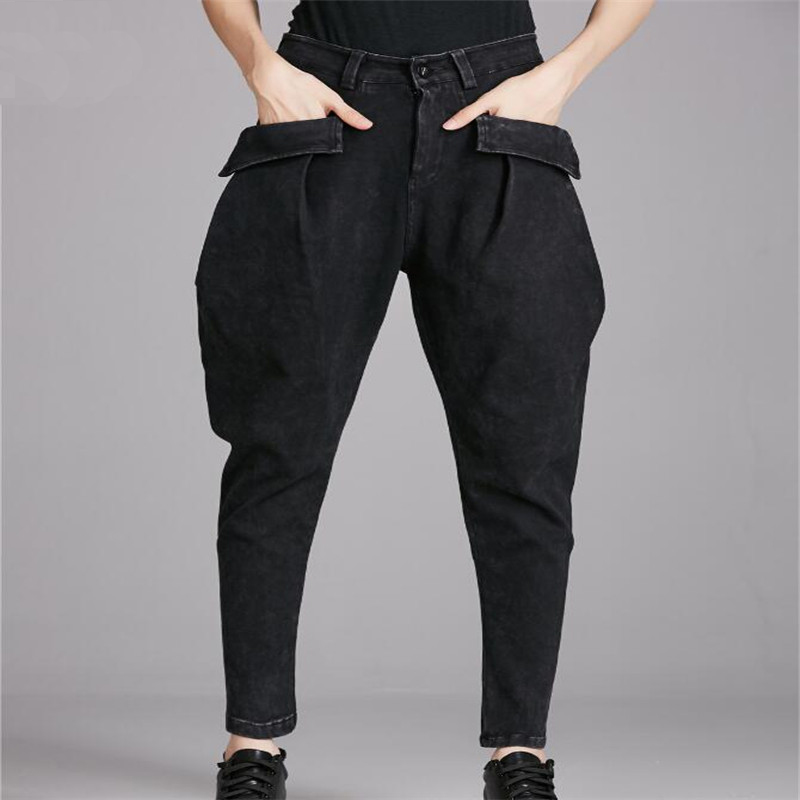 Spring Vintage punk rock harem pants feminino slim black big pockets denim jeans Women New Fashion Water Washed Hiphop Trousers