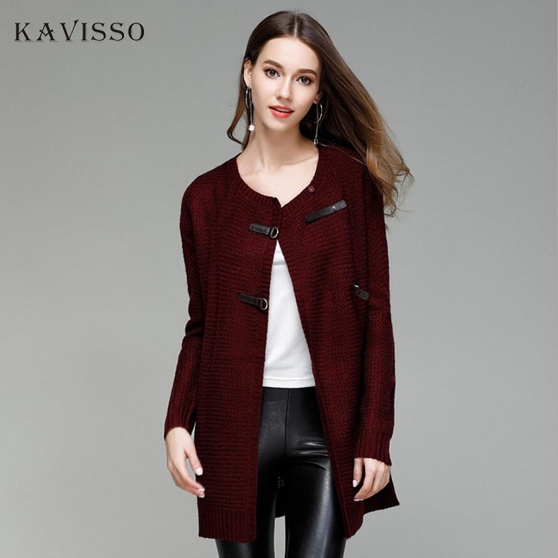 Cardigans Enthusiastic Kavisso New Arrival Solid Color Cape Coat Poncho Female Casual Leather Buckle Knitted Cloak Long Sleeve Sweater Cardigan Womenxl Be Novel In Design