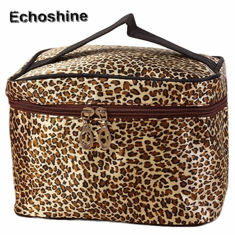 2016 fashion classic Leopard Makeup Bag Womens Zippers Storage Bags Travel Portable Waterproof Cosmetic Bag gift A3000