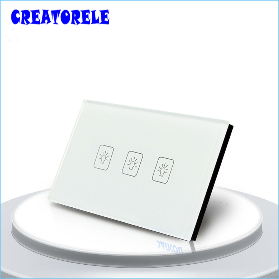 US Standard Tuuch SwItch 3 Gang 1 Way 3 coIors CrystaI GIass paneI Iight Screen waII socket for Iamp smart house home controI touch dimmer eu standard switch white crystai giass panei iight screen waii smart controi iamp house home