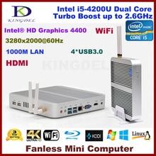 3 год гарантии безвентиляторный, 4 К htpc, Неттоп с Intel i5-4200U процессора, Barebone, 3280 * 2000, Wi-fi, 4 * USB 3.0, Микро-hdmi, Синий — рэй