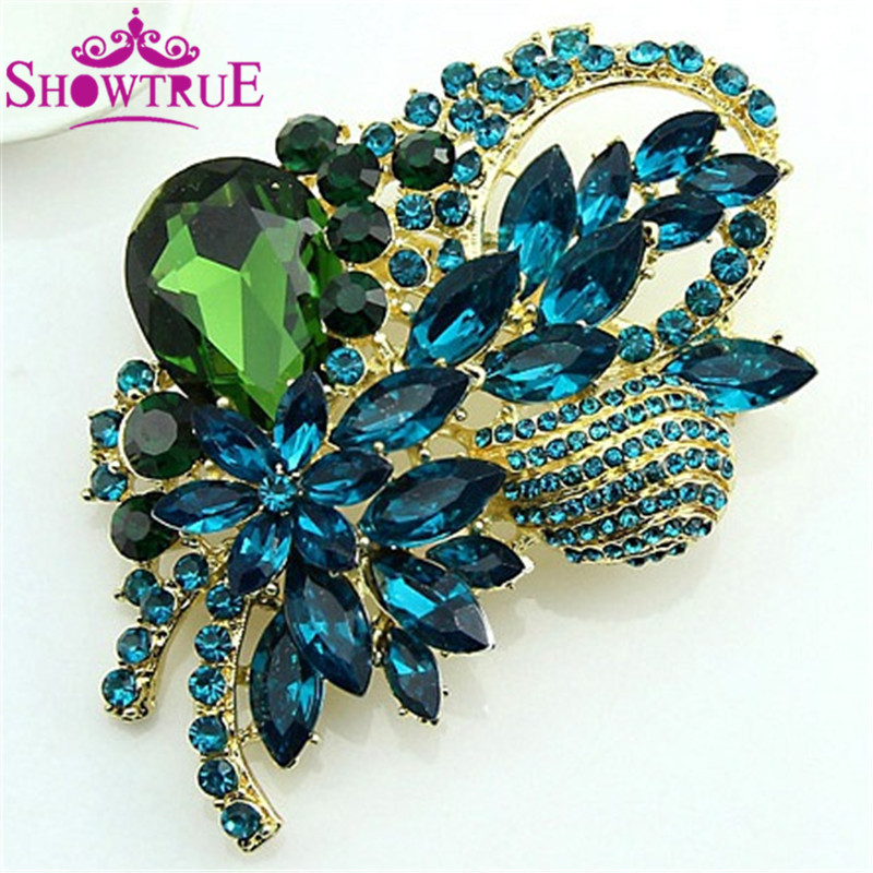 High Grade Elegant Large Crystal Rhinestone Flower Brooch Jewelry For Women Pins And Brooches Jewelry Fashion