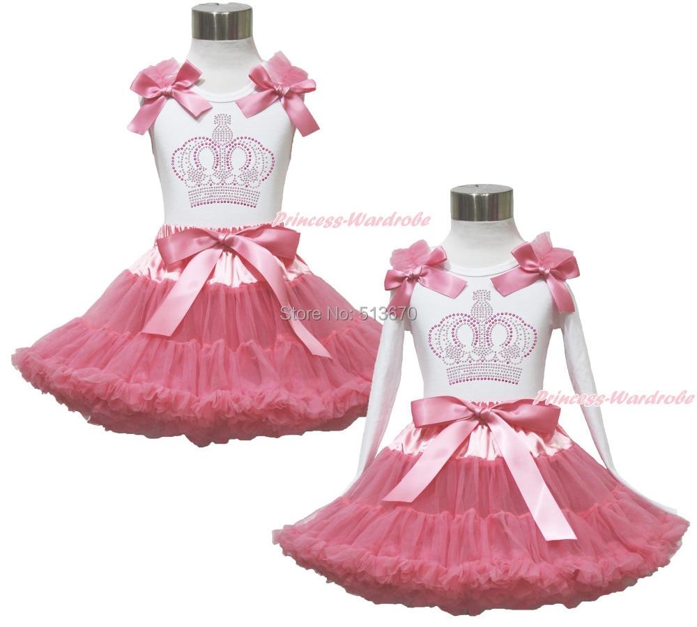 ФОТО Rhinestone Crown White Pettitop Top Shirt Dusty Pink Bow Pettiskirt Dress Set 1-8Y MAPSA0535