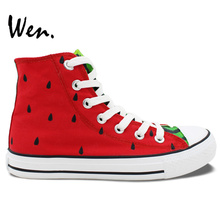 Wen Original Design Custom Hand Painted Shoes Fruit Series Watermelon Red High Top Men Women's Canvas Sneakers