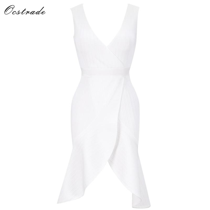 Bandage Sans Robe De V Blanc Sw034 Cours Haute Ocstrade Cou Manches Dépouillé Genou white Qualité Festonnée f17BnaWwnO
