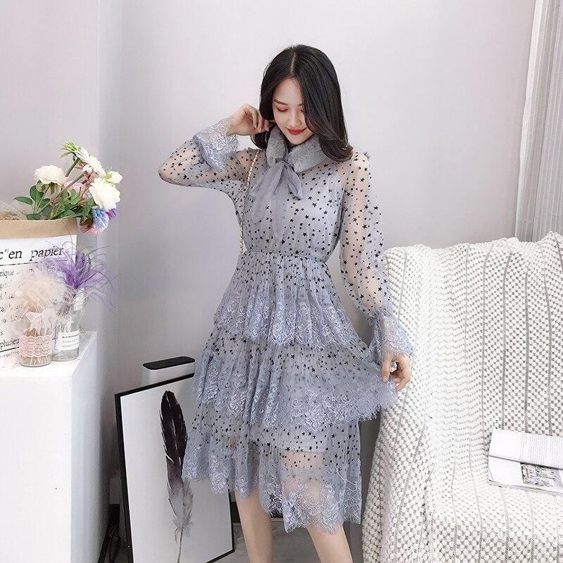 ALPHALMODA 2019 Spring Fur Collar Sweet Bow Stars Print Long-sleeved Multi-layer Women Princess Chiffon Dress + Sling 2pcs Set 3