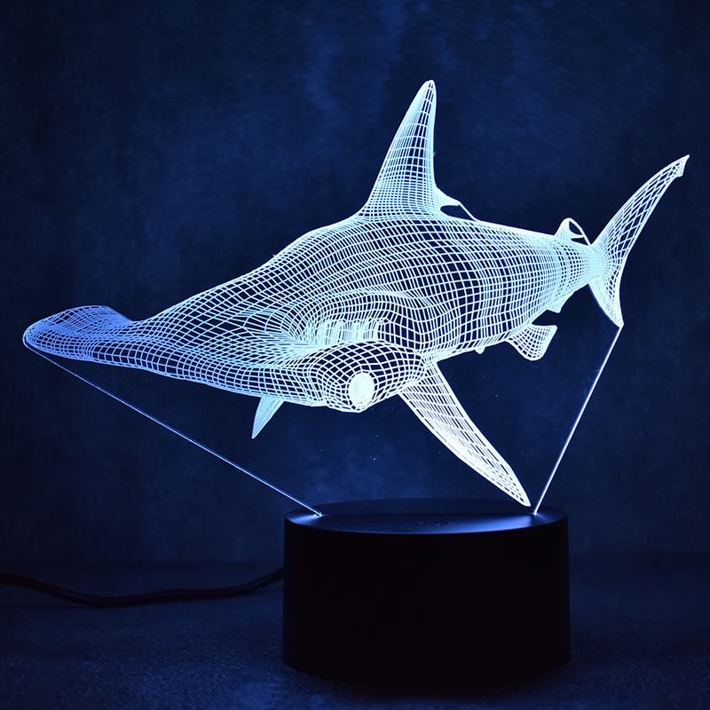 3D LED Table Lamp Decor Creative USB Shark Light Fixture Lampara Night Light Sphyrna Mokarran Lamp Bedside Sleeping Nightlight