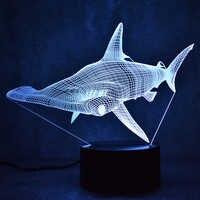 Lámpara de mesa LED 3D decorativa creativa USB Shark lámpara Lampara luz de noche Sphyrna Mokarran lámpara de noche