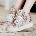 Nuevas Mujeres Ocasionales Zapatos Floral Lace Up Entrenadores Lona Transpirable Zapatos de Plataforma Canasta Femme Zapatillas Tenis Feminino