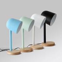 Современный простой Macarons исследования настольная лампа глаз защита E27 железного дерева настольная лампа для изучения Спальня прикроватные