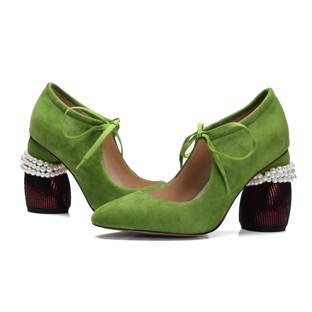 Tacón Lace Mujer Mujeres Primavera Gamuza Cuero De Negro Toe Bombas Tacones Zapatos Otoño Smirnova Grueso Punta green Altos Up 2018 Moda pq8AAv