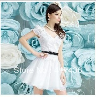 779a0ab06d8 New arrival Short A-line Cocktail Dress Cap short sleeve ruched lace v neck  party prom homecoming white graduation white gown