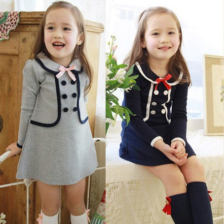 2016 Autumn Girls Dress 2-7 Years Peter Pan Collar School Toddler Baby Girl Dress Children Clothing Kids Cotton Casual Dresses fashion kids baby girl dress clothes grey sweater top with dresses costume cotton children clothing girls set 2 pcs 2 7 years