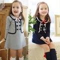 2016 Outono Meninas Vestem 2-7 Anos Peter Pan Escola Colarinho Roupas Crianças Vestido Da Menina Da Criança Do Bebê Crianças Algodão Vestidos casuais