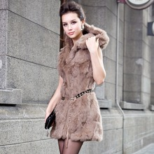 Real rabbit fur coat 2016 spring women's vest vest Korean Slim Hooded long section of the coat-of-season Discounted