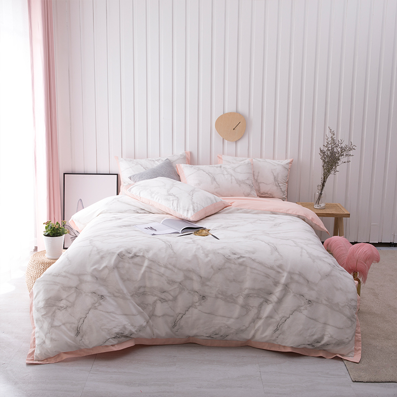 100% Cotton Ultra Soft Bedding FULL/QUEEN KING Size 4Pieces Gray Marble Duvet Cover Bedding Set With Zipper Bed Sheet Set