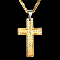 Men S Necklace Gold Color Large Big Cross Necklace 316L Stainless Steel Pendant With Byzantine Chain