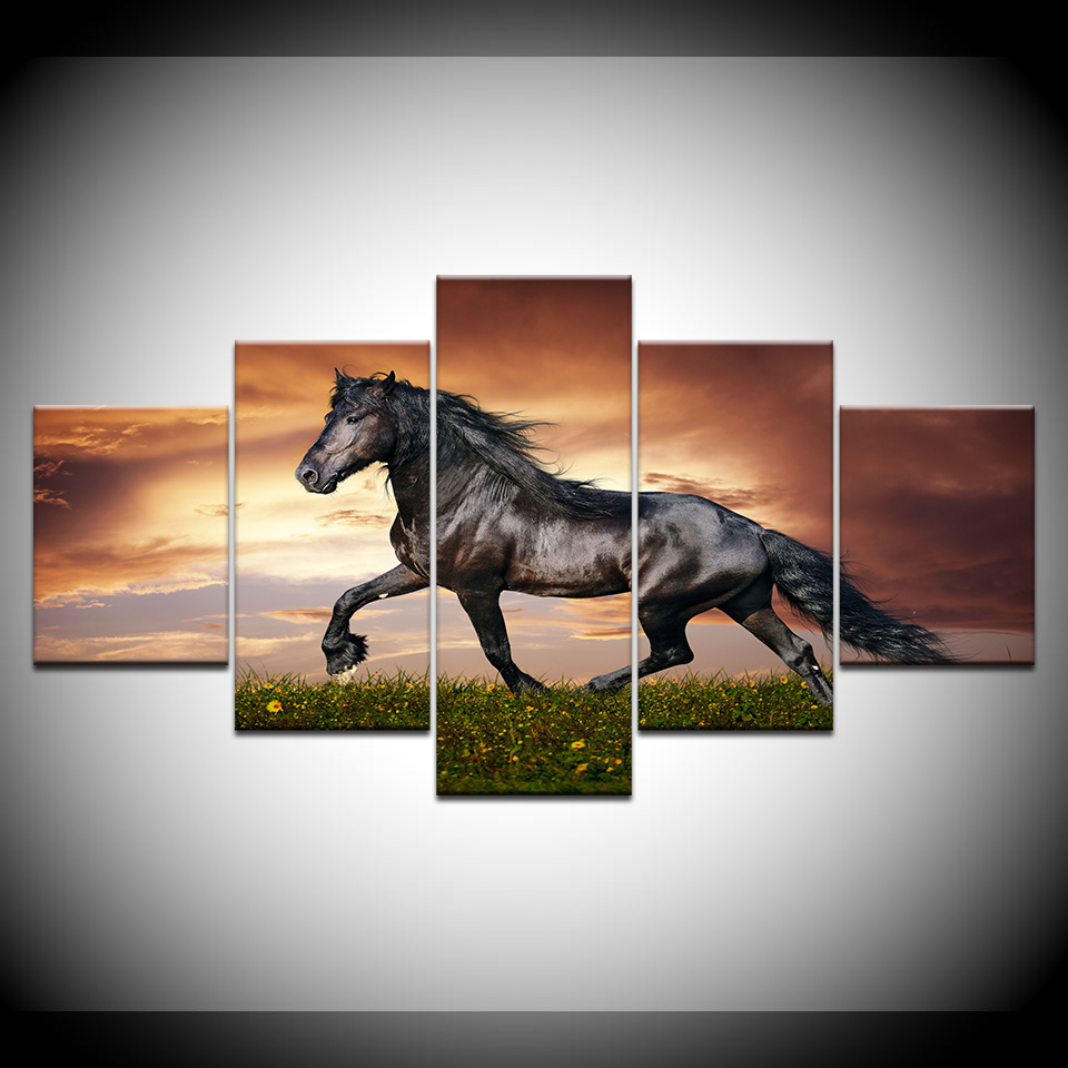 Canvas Painting A horse running sunset 5 Pieces Wall Art Painting Modular Wallpapers Poster Print for living room Home Decor