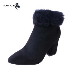 Women Winter Warmer Boots New Fashion Women Ankle Boots Short Plush High Heel Rabbit hair Boots Women Sexy Square Heel Shoes