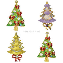 4 Style Rhinestone Decoration Colorful Christmas Tree Brooch Pins Scarf Buckle Hijab Accessories Jewelry For Women/Children Gift