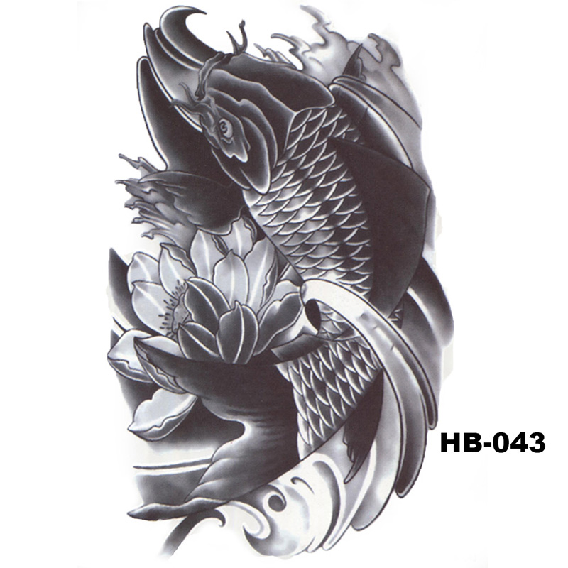 5 Pcs Hot Black Fish Totem Temporary Tattoo Stickers Waterproof Body Art Big Fake Shoulder Tattoo For Men and Women (23)