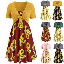 Fashion Women dresses Short Sleeve Bow Knot Bandage Top Sunflower Print Mini Beach Party Enening Dress Suits недорого
