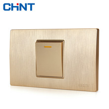 CHINT Electric 118 Type Switch Socket NEW5D Wire Drawing Gold Within Steel Frame One Gang Two Way Switches