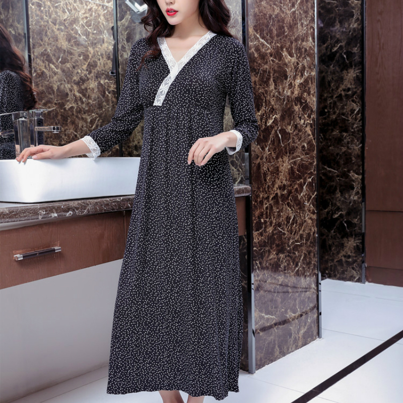 2019 Woman Night Sleepwear Spring And Autumn Nightgown Modal Sleep Dress Lace Elegant Long Korean Princess Sexy Sleeping Dress