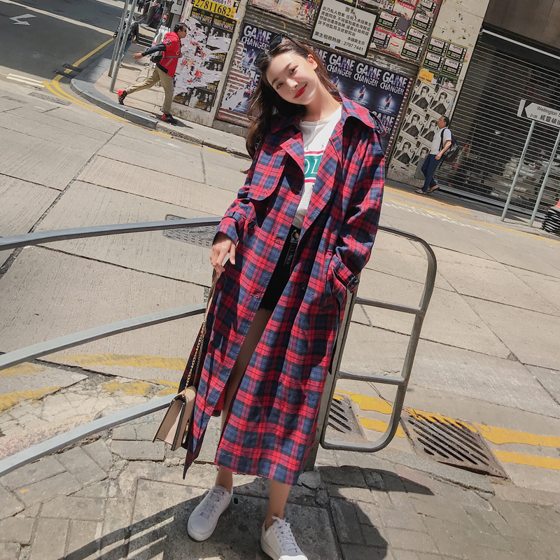 Fashion women comfortable warm plaid long coat new arrival autumn winter korean temperament outerwear holiday sweet thick   trench