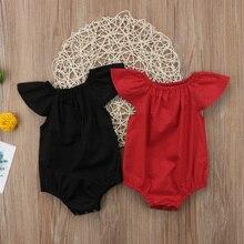 Ruffle Red/Black Solid Newborn Baby Girls Ruffle Short Sleeve Romper Jumpsuit Pl