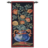 45x92cm Belgian Wall Hanging Tapestry Cotton Flowers Vase Decorative mural Wall Blanket Cloth Gobelin Moroccan Decor fabric
