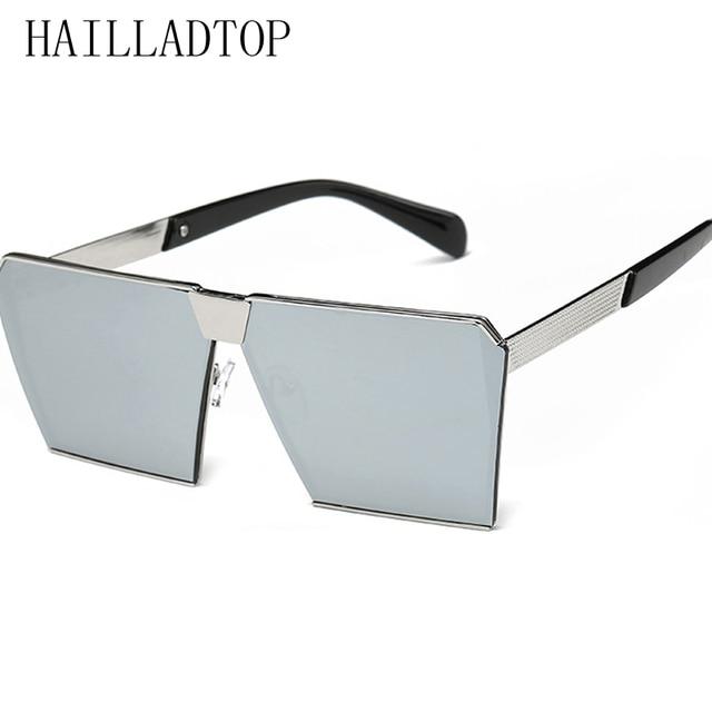 bajo precio e49c3 fc186 Gafas de sol rectangulares planas moda gran tamaño para mujer, gafas  plástico aleación playa, lentes espejo planos con personalidad 2019