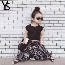 2T-6T  Baby Girls Clothing Set 2 Pieces Set Toddler Girl Clothes Set Black T Shirt+ Casual Pants For Summer