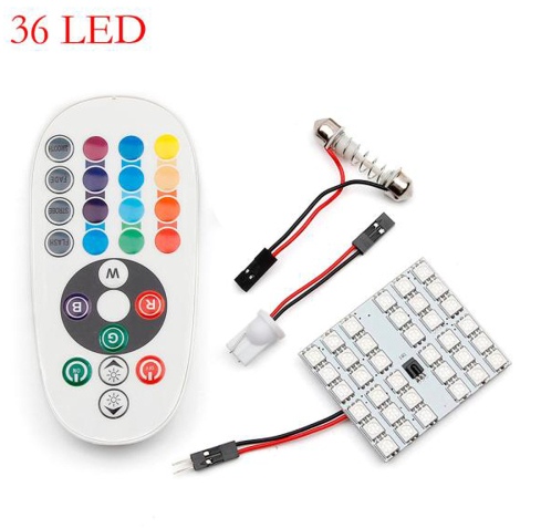 1*Tiptop New Colorful T10 5050 SMD 16 Colors 36 RGB LED Car Interior Panel Reading Lamp Controller SEP 19 ...