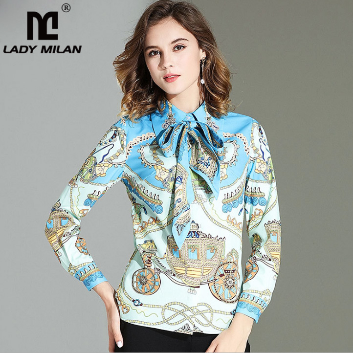 High Quality New Arrival 2018 Womens Beaded Turn Down Collar Long Sleeves Detachable Bow Printed Designer Fashion Casual Shirts