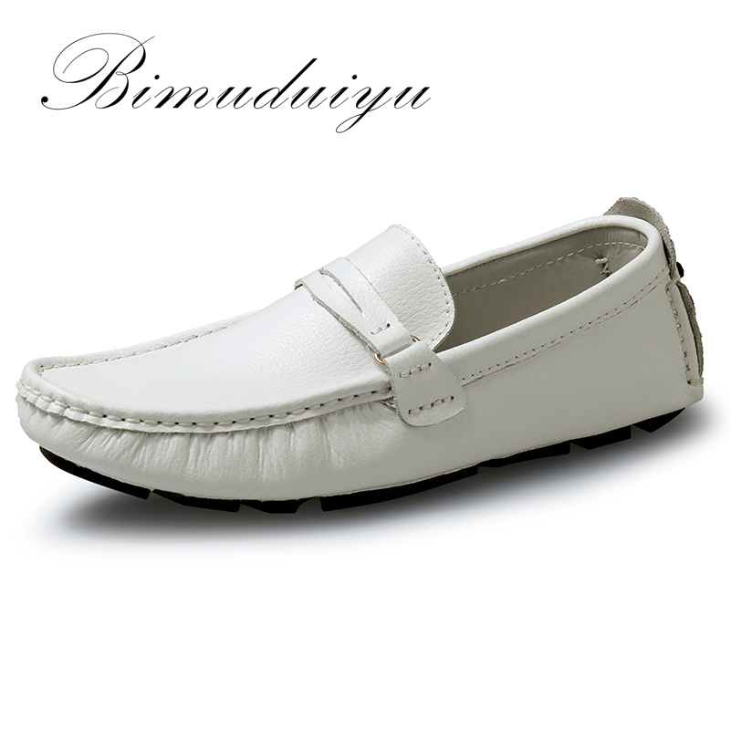 BIMUDUIYU Brand New Men Flats Soft Bottom Leather Comfy Driving Shoes Handmade Summer Slip On Causal Shoes For Man Size 38-47