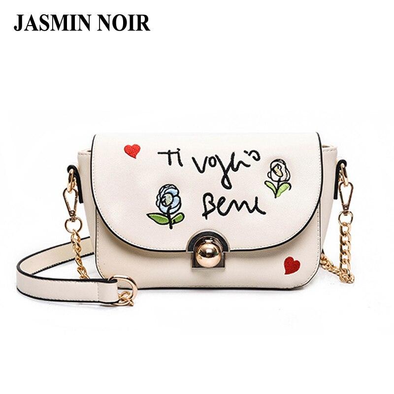 купить brand designer women shoulder bag female leather floral crossbody bag 2017 new fashion embroidered roses ladies messenger bag недорого