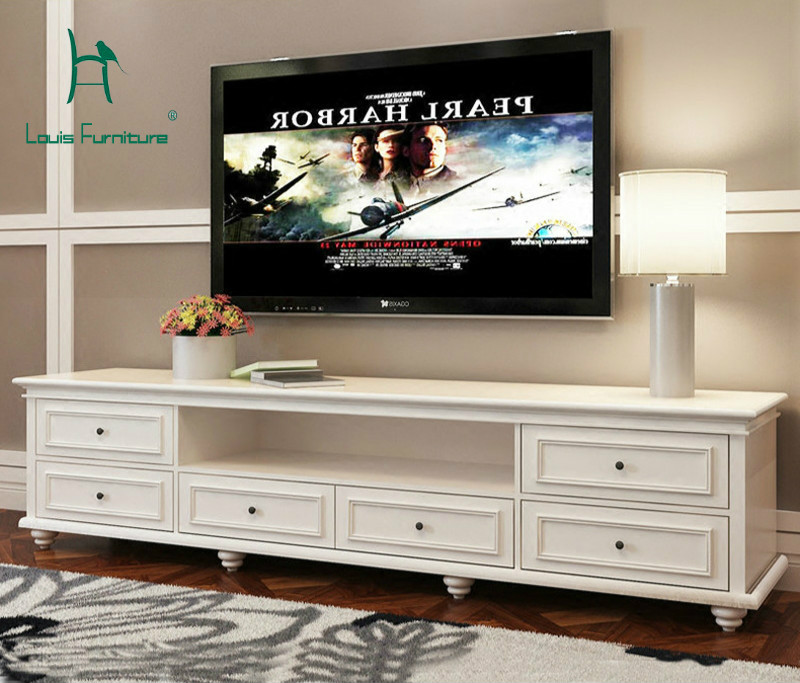 Louis Fashion American Simple White Tv Cabinet Solid Wood Paint Bedroom Floor Cabinet European Modern Living Room Cabinet Tv Stands Aliexpress
