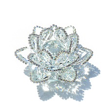 H&D Holiday Gift Crafts 90mm Crystal Lotus Flower Ornaments Fengshui Mascot Crystals Flowers Home Decor Accessorie Fairy Garden