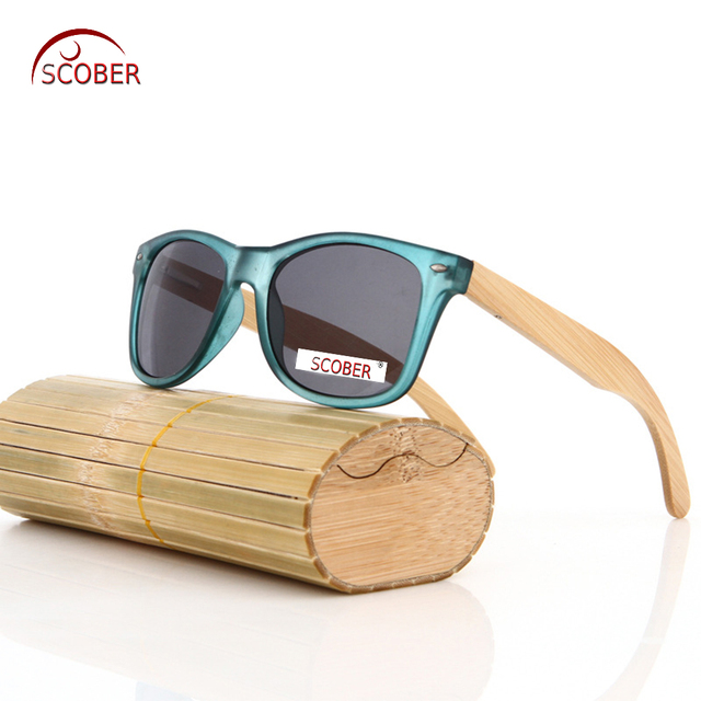 28f3c80e5c  SCOBER  Fashion Bamboo Wooden handmade frame Blue translucent polarized sunglasses  Mirror Coated UV400 sun glasses with case