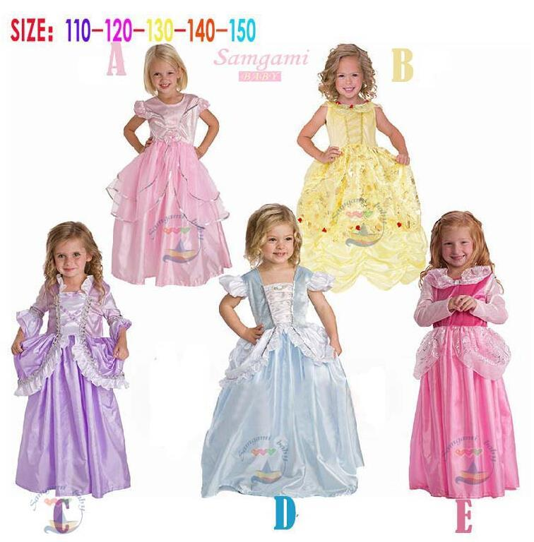 Movie Cinderella Deluxe Dress Girls Princess Cosplay Costume Party Kids stock! - baby's dream world store